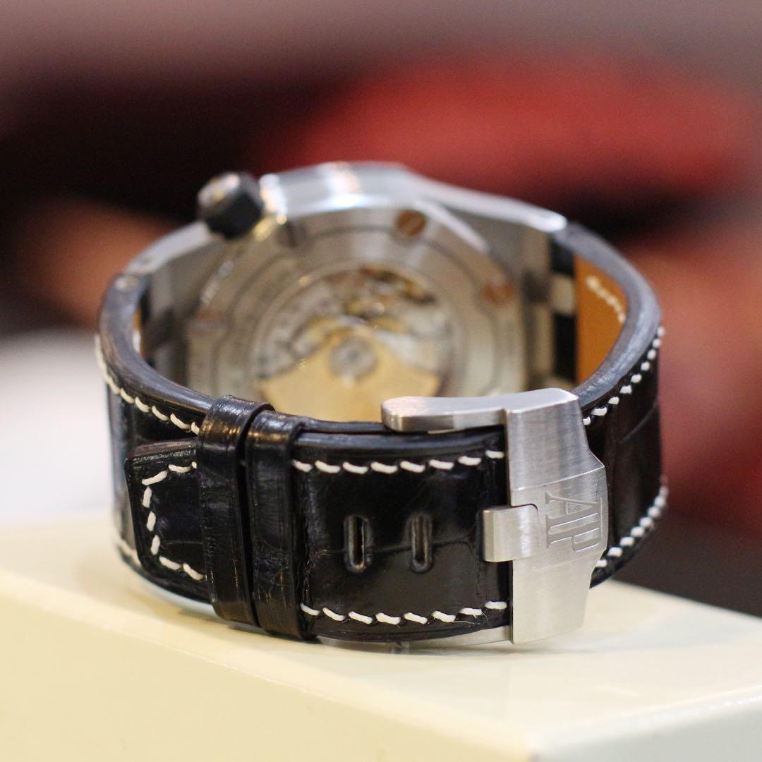Handmade handstitched watch strap in glossy black squared USA alligator for clients AP offshore diver