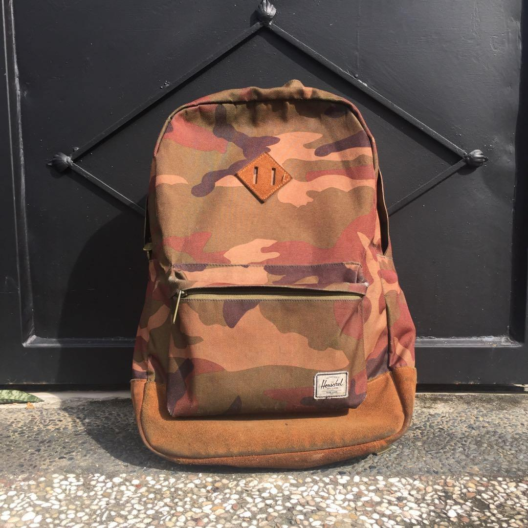 Herschel army suede leather backpack