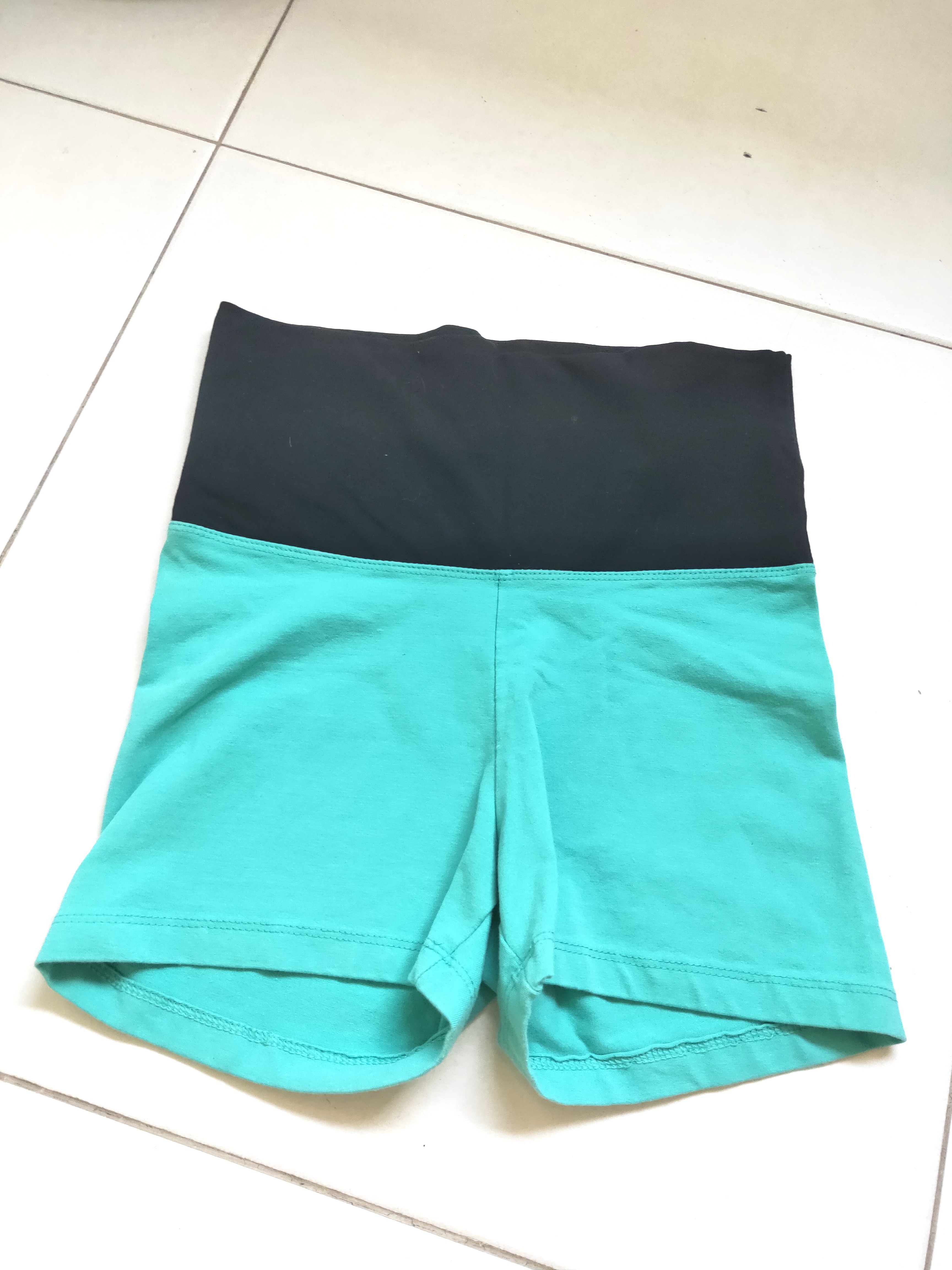 3b277116305fe High waist turquoise short tights - Forever 21, Sports, Sports Apparel on  Carousell