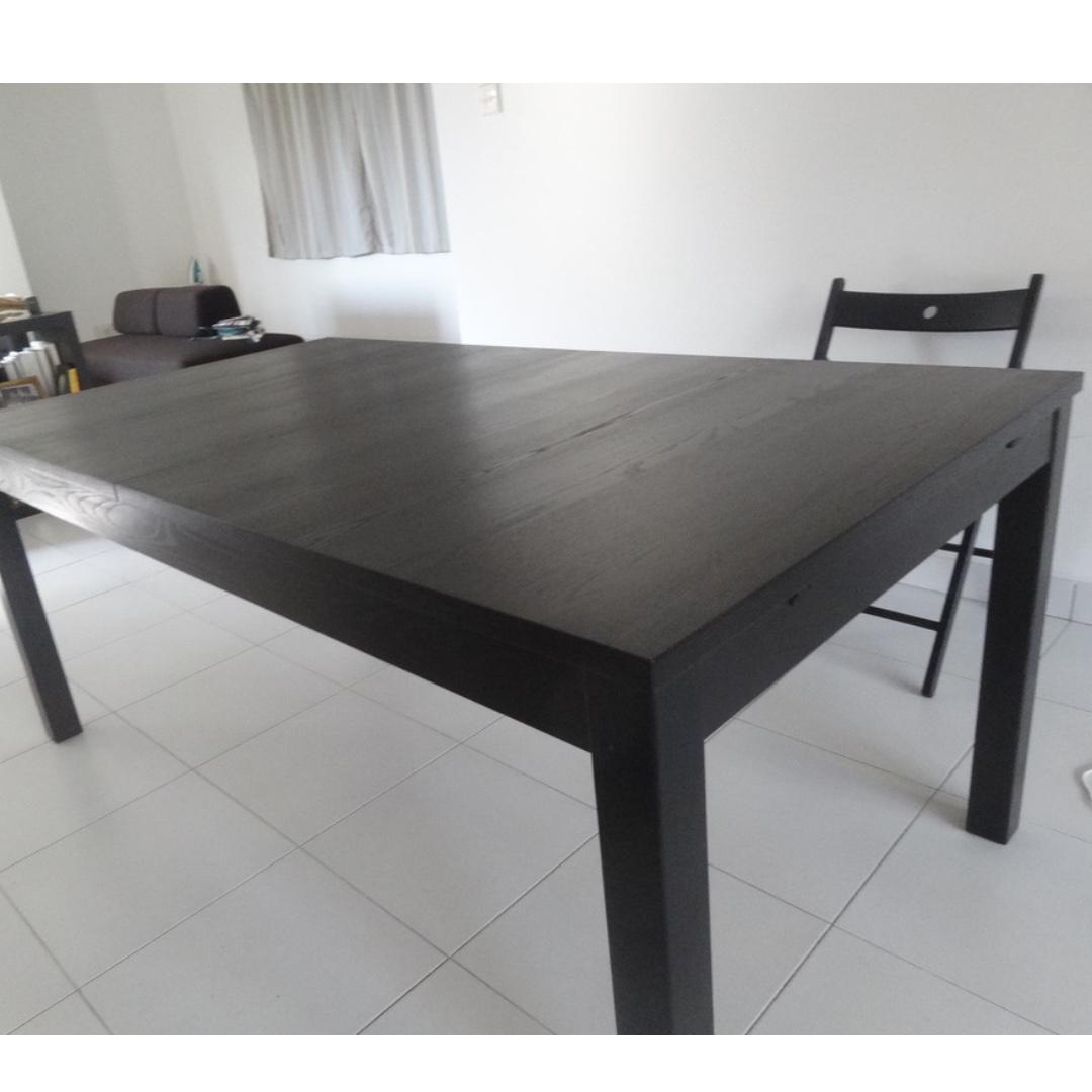 Ikea Bjursta Dining Table Extendable Brown Black Furniture Tables Chairs On Carousell