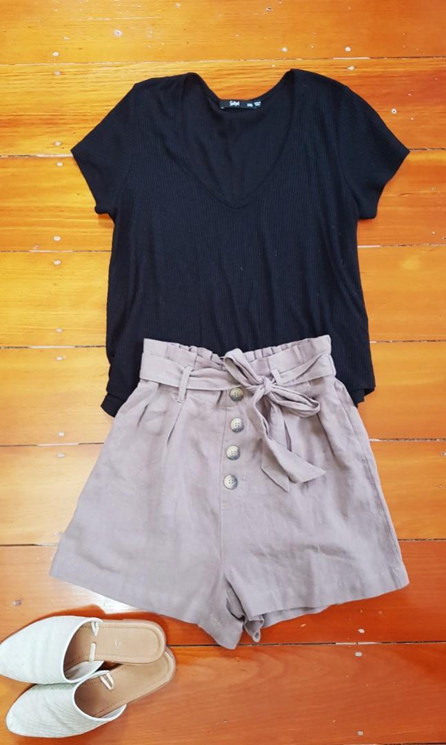 Jeanswest Linen Blend Paperbag High Waist Shorts 8 #SwapAU