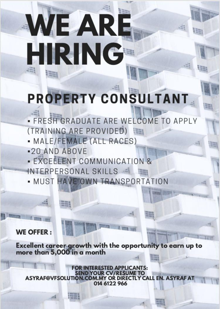 kerja kosong perunding hartanah - property consultant ( Johor bahru )