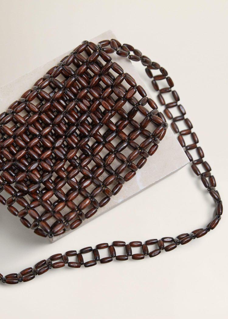 1bca98f5eab Mango Beaded Wood Handbag