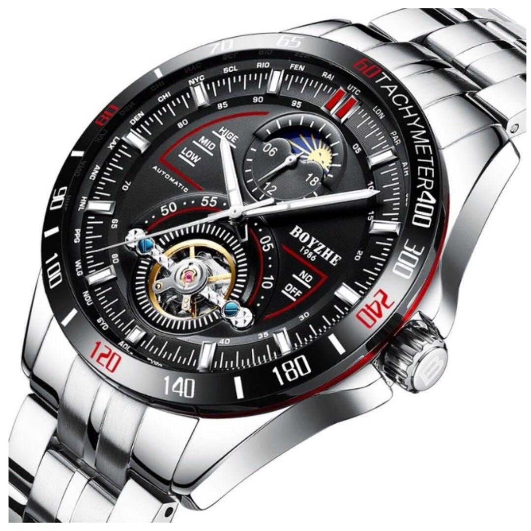 Men Automatic Mechanical Tourbillon Moon Phase Fashion Sport Stainless Steel Watches