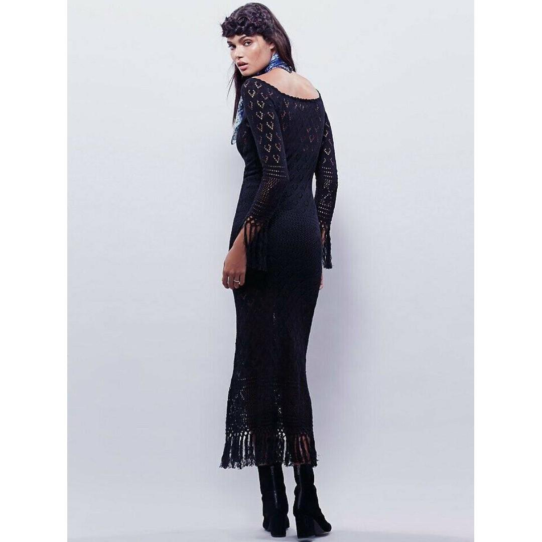 NEW Spell & The Gypsy Collective, Black Crochet Maxi Dress, Size S/M