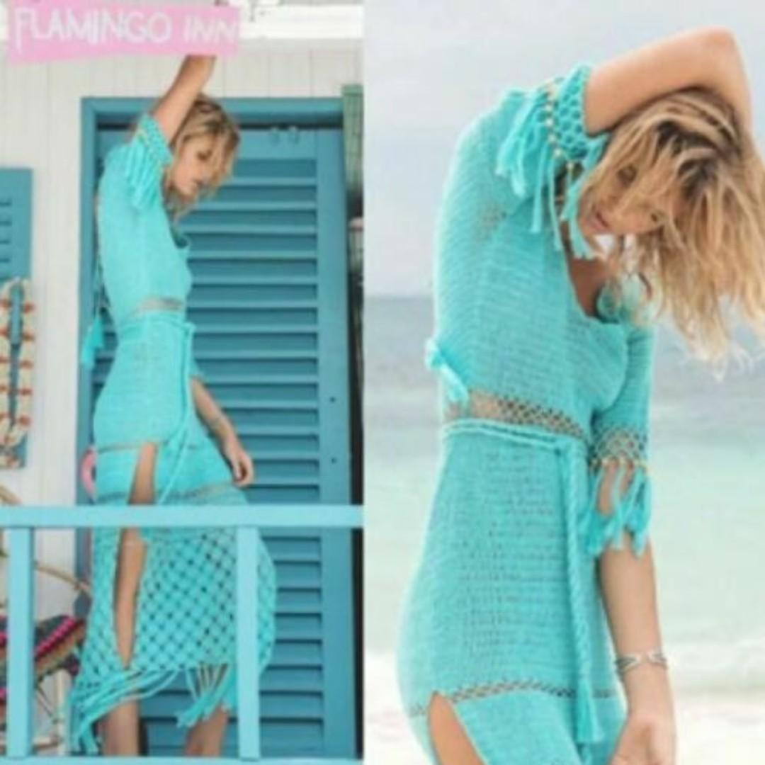 NEW Spell & The Gypsy Collective, Blue Crochet Maxi Dress, Size S/M, RARE