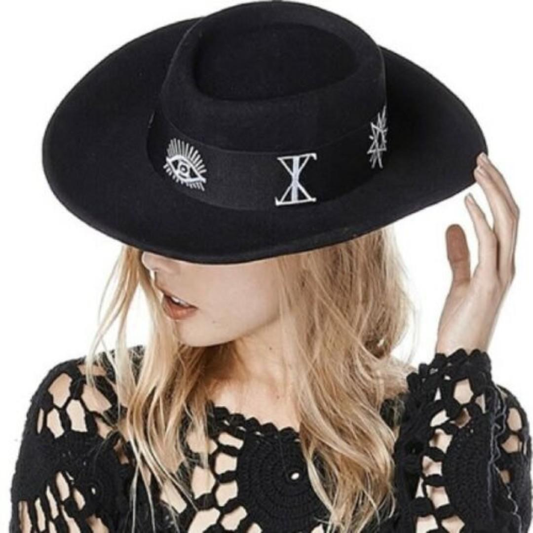 NEW UNIF Relics Hat, Black 100% Wool, Wide Brim, RRP $120