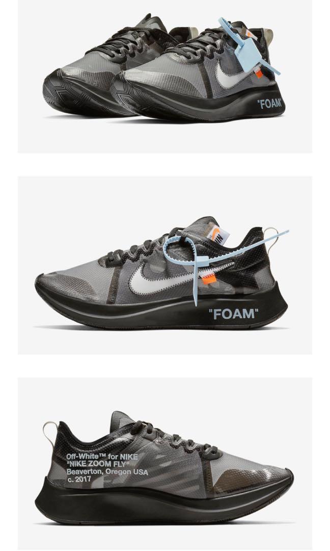 df00a22c Nike Zoom Fly X Off White Black & Sliver, Men's Fashion, Footwear ...