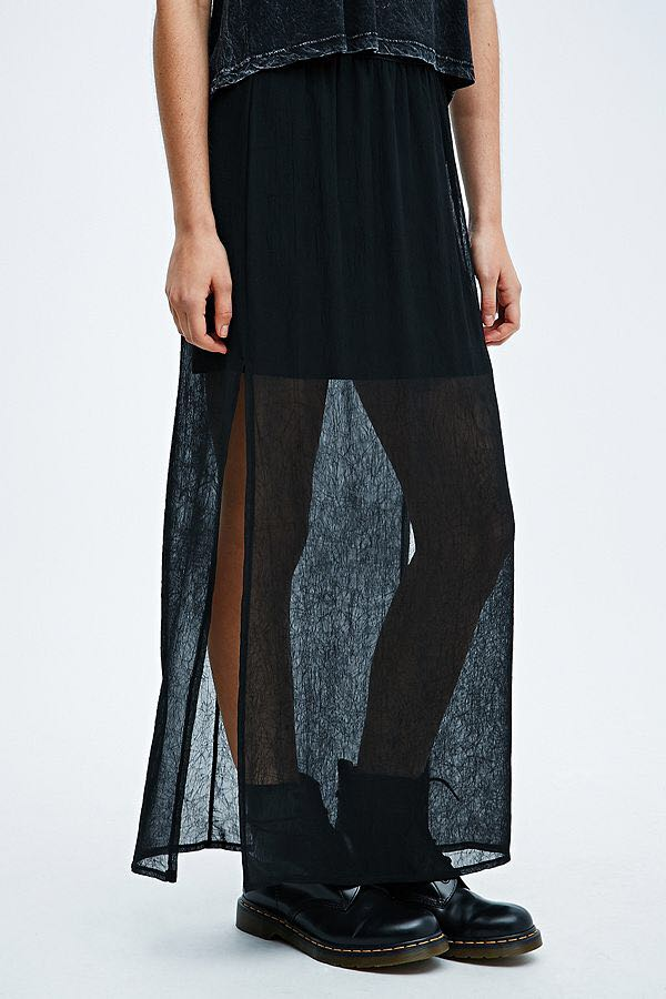 f2594b6c1fb NWOT Urban Outfitters Pins & Needles Creased Sheer Maxi Skirt In ...