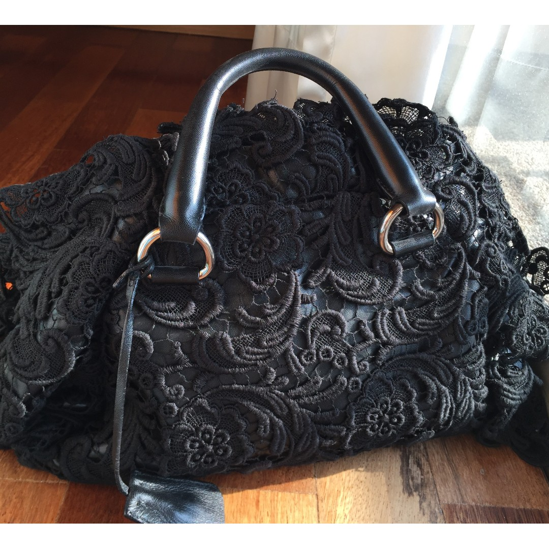 a38427f26ac8 Prada Pizzo Black Lace Covered Leather Bowling Bag