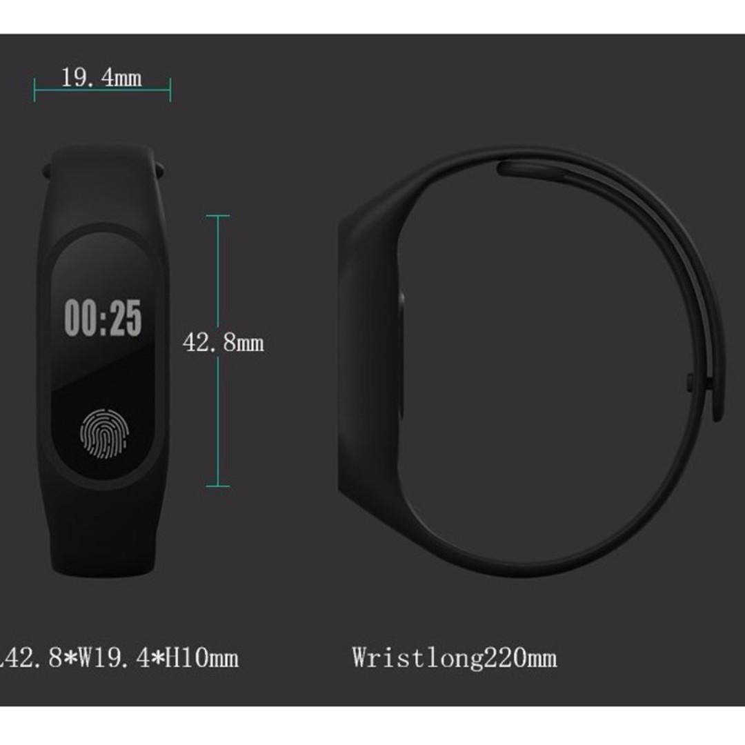 Smart Watch M2 Bluetooth Bracelet Pedometer Heart Rate Wristband for Android IOS