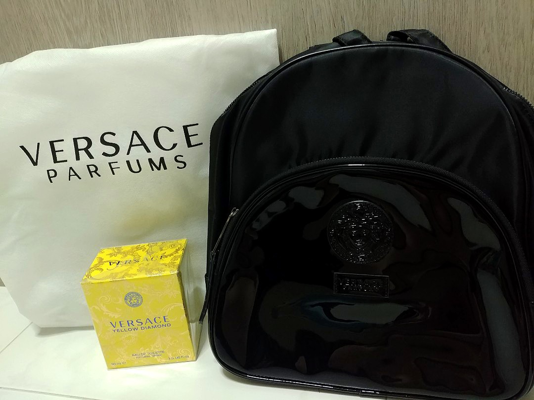 b42544376bb7 Authentic Versace yellow diamond   parfums backpack ...