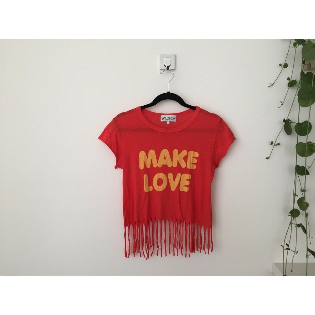 WILDFOX Make Love Fringed Crop T-Shirt, Red, Size S