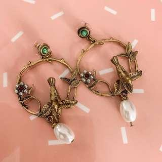 Cute & dainty gold pearl earrings • green, red stone, cute bird & flower, with rosegold lock detail as seen on photo