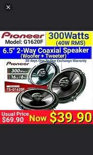 "6.5"" Car Speakers 300 Watts 2 way (embeded  integrated tweeters & woofer) model  Pioneer TS-G1620  (Brand New In Box & Sealed) Usual Price : $69.90 Now: $39.90 .  Warranty: 60 days one to one exchange warranty."
