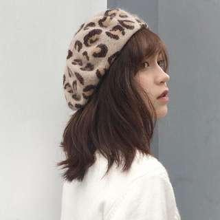 豹紋貝蕾帽