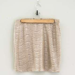 H&M Metallic Gold Stretch Skirt