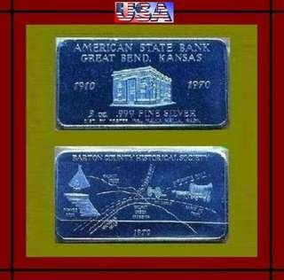 👉 USA. - 1x 3 Troy Oz. 999 Fine Silver Chunky Art bar