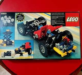 Vintage Lego Technic 8860. Good condition. I saw there are human figure, 4 wheels and steering wheels and lots of other parts filling up the box fully. Not sure if there is missing pieces. $50 offer! WhatsApp 96337309.