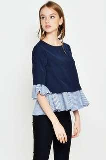 🚚 Love and Bravery Navy Bell Sleeved Top