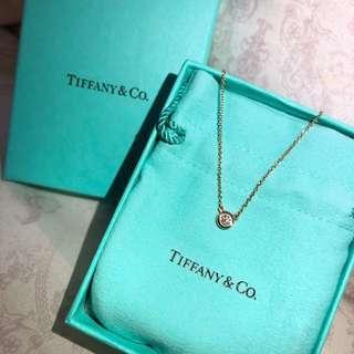 代購 全新 正品 Tiffany 18k 玫瑰金 17分 鎖骨鏈 單顆 美鑽