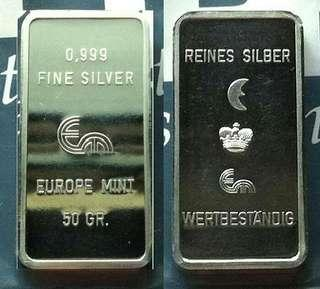 👉 EUROPE - 1x 50g Grams (1.6+ Troy Oz) 999 Fine Silver unique Ingot bar