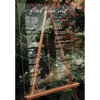 Customised Acrylic Wedding Seating Chart