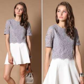 🚚 The Stage Walk - Aria Lace Crop Top (Grey)