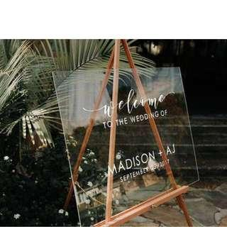 Customised Acrylic Wedding Welcome Sign/Board