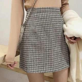 🚚 Uzzlang Checkered Skirt