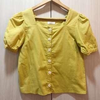 🚚 Yellow Linen Puff Sleeves Crop Blouse