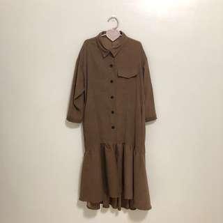 氣質款襯衫九分袖魚尾裙霧棕色長洋裝