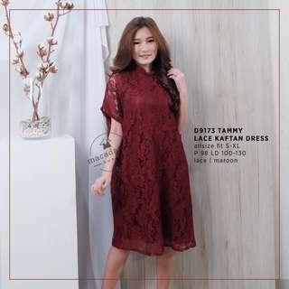Macadamia Tammy Lace Kaftan Dress in MAROON