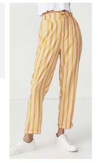 Co yellow strip tailored pants