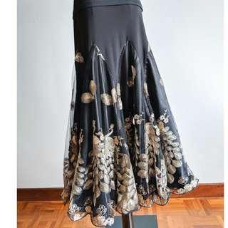 Latin / Ballroom Dance Skirt - Gold Peacock