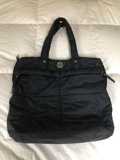 Lululemon medium / large size tote bag. Black nylon with vegan leather
