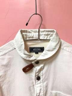 👦🏼👧🏼BEAMS 復古小圓領 皮革扣帶 牛津襯衫 白 S