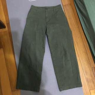 無印良品)軍綠有機棉綾織直筒寬褲
