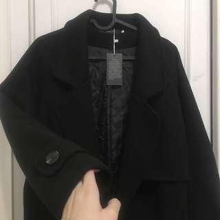 🚚 正韓 黑色毛呢厚磅大衣