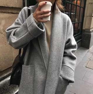 🚚 簡約綁帶毛呢大衣