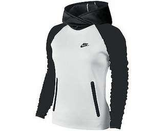 Nike Black and White Funnel Neck Hoodie