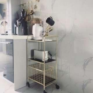 金屬三層可移動收納置物架/廚房推車