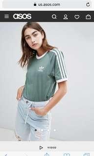 adidas Originals 3 Stripe T-Shirt In Khaki 綠色