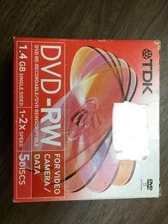 全新未拆一盒5隻TDK DVD-RW 1.4GB