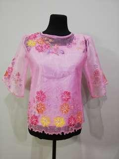Lady's Barong Painted Floral Embroidery