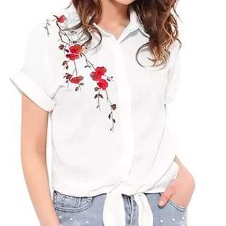 👍 PLUS SIZE Top Summer Women Casual Tops Short Sleeve Embroidery White Top Blouses Shirts Sexy Kimono Loose Beach Shirt Blusas embroidery flower shirt