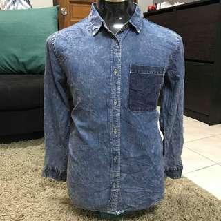 Acid wash jeans shirt unbrand