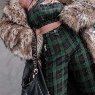 🚚 (preorder) two piece grid checkered tartan plaid tube top and pants set