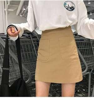 🚚 (preorder) two colors!! color block a line basic high waist mini skirt