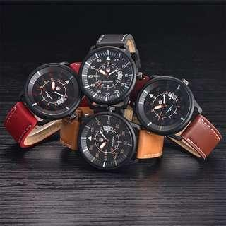 Mens Watches Leather Band Date Analog Display XINEW Brand